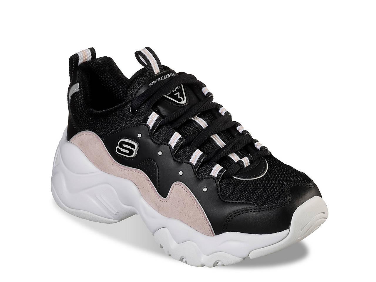 Skechers D Lites Womens Low Sneaker Black | B2B
