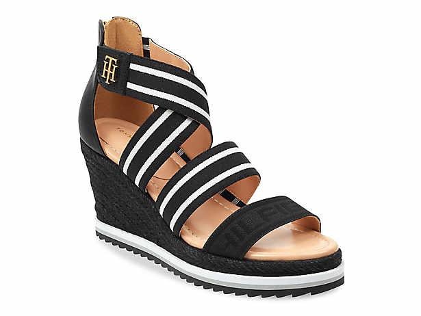 15d534a94 Women s Black Tommy Hilfiger Wedge Sandals