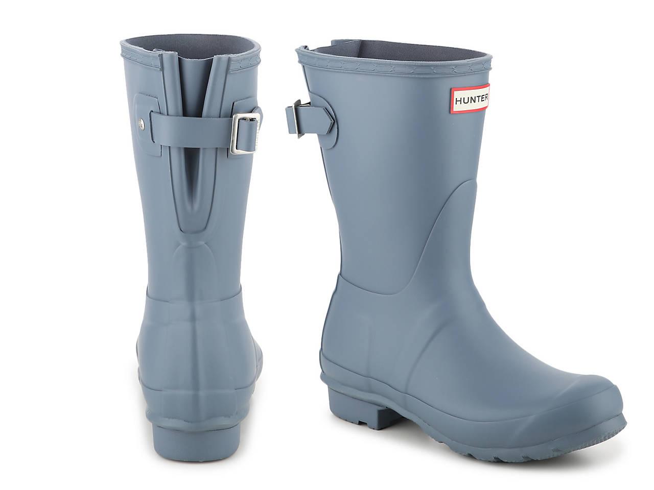 HUNTER Original Short Matte Back Adjustable Rain Boot Women's Shoes   DSW