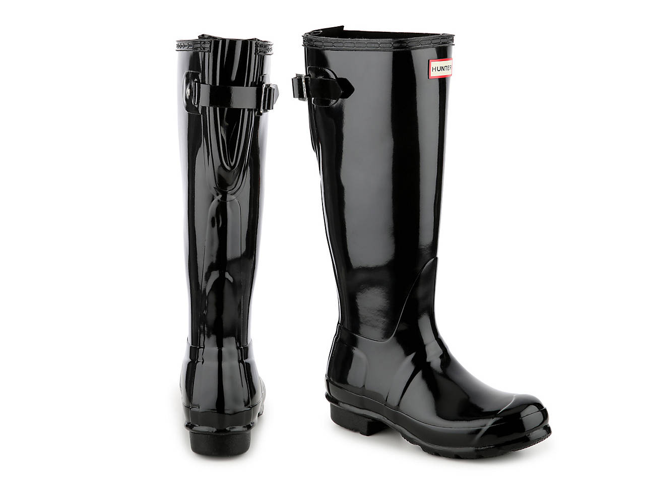 e09c5b0ffa HUNTER Original Tall Gloss Back Adjustable Rain Boot Women's Shoes | DSW