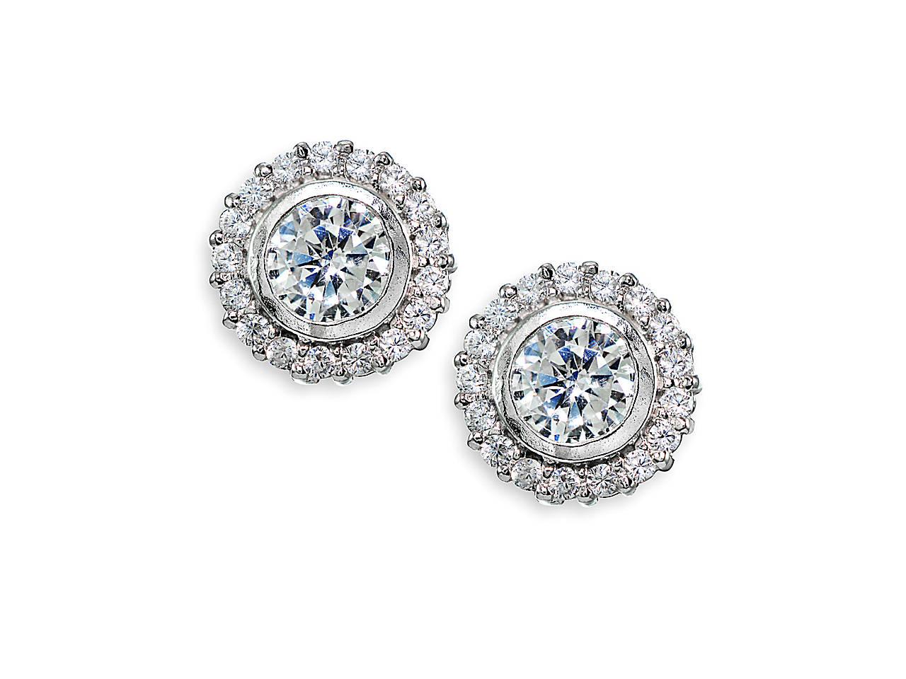 d533c24a3d01a Halo .925 Sterling Silver Stud Earrings