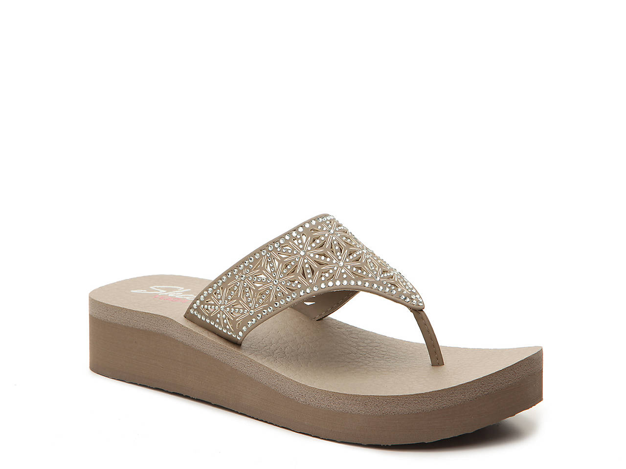 520b6dfe771d Skechers Cali Vinyasa Glass Star Wedge Flip Flop Women s Shoes