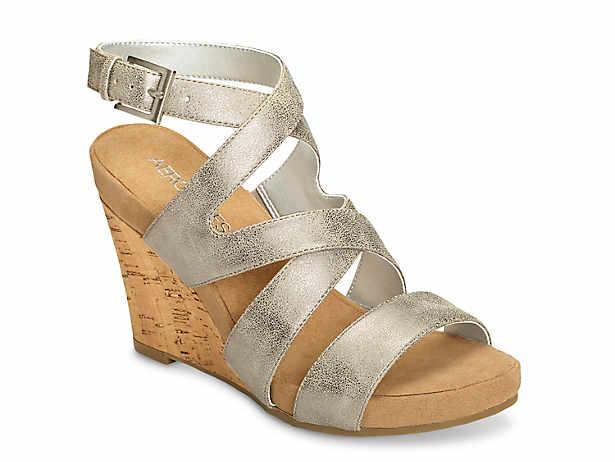e2ad6a1db58 Aerosoles. Silver Plush Wedge Sandal