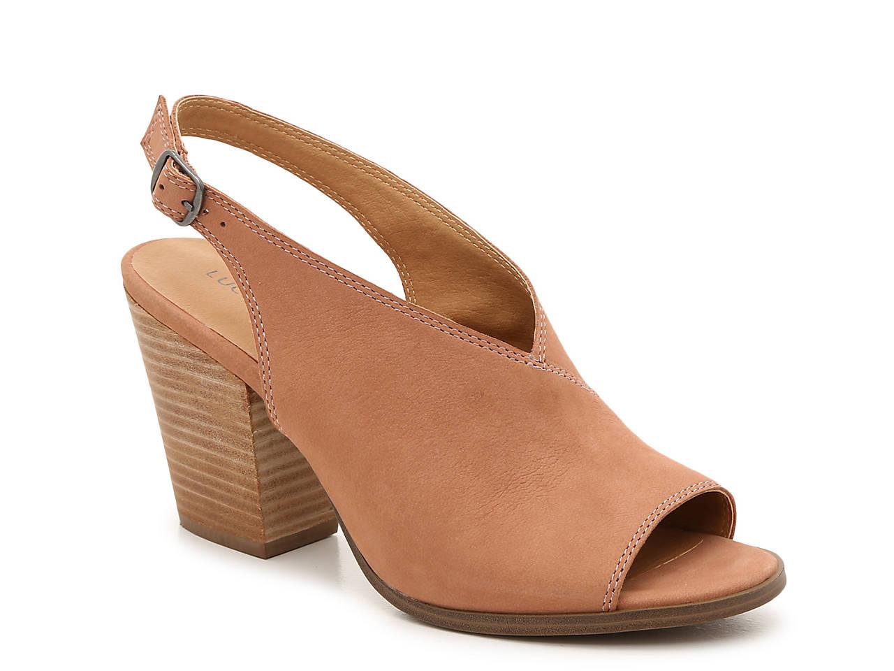 Lucky Brand Women/'s Lideton Nubuck Slingback Block Heeled Sandal