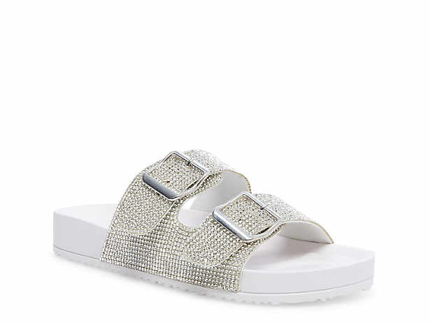 New girl/'s kids elastic sandals silver stones comfort casual open toe summer