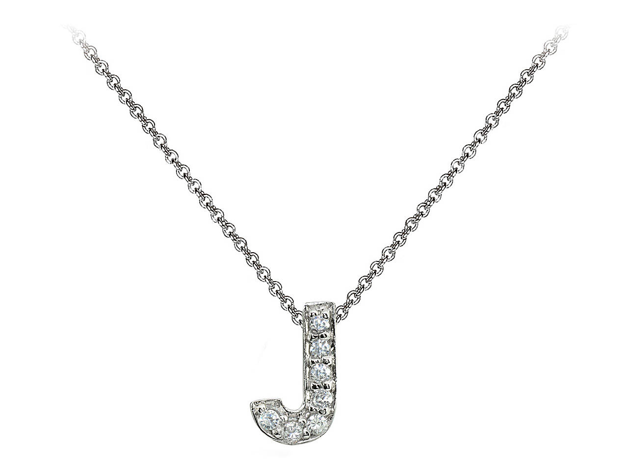 e586b5860ee27 .925 Sterling Silver J Initial Pendant Necklace