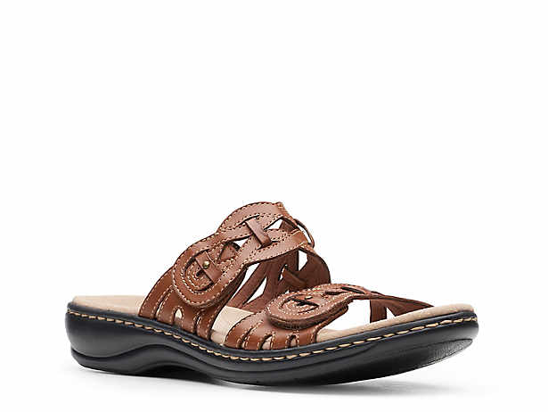 Ladies Leather Collection Casual Flat Y Stap Slingback Mule