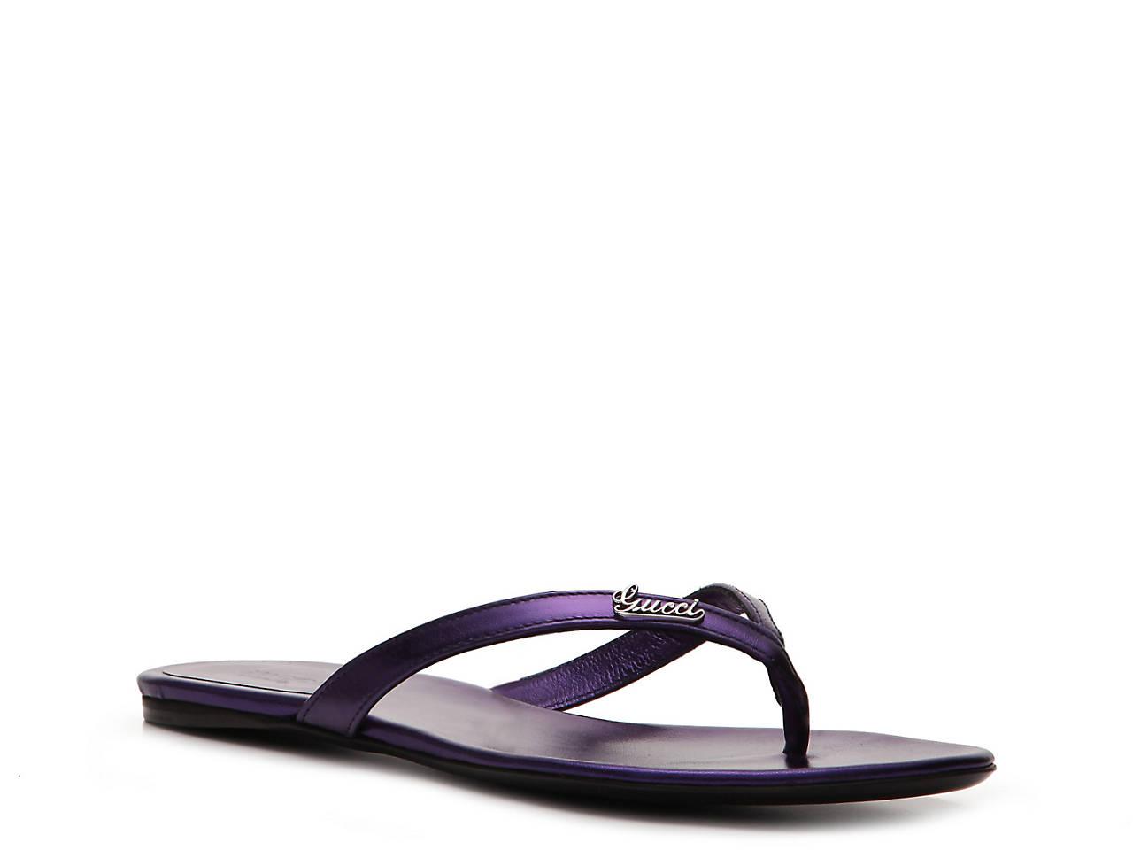 aabf538be7e791 Gucci Metallic Leather Script Flip Flop Women s Shoes
