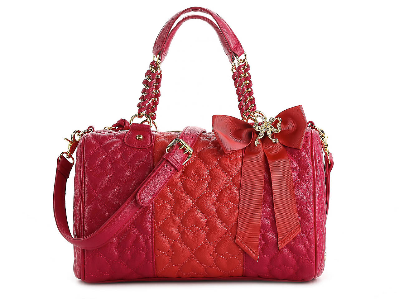 8aeb45a355 Betsey Johnson Quilted Love Satchel Women s Handbags   Accessories