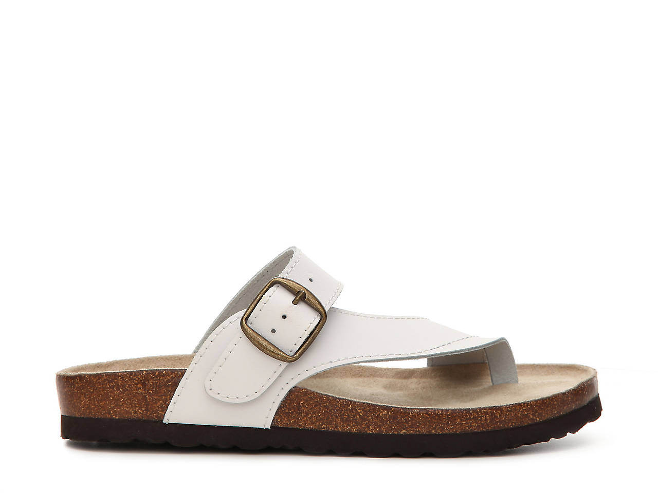White Mountain Carly Leather Flat Sandal Women S Shoes Dsw