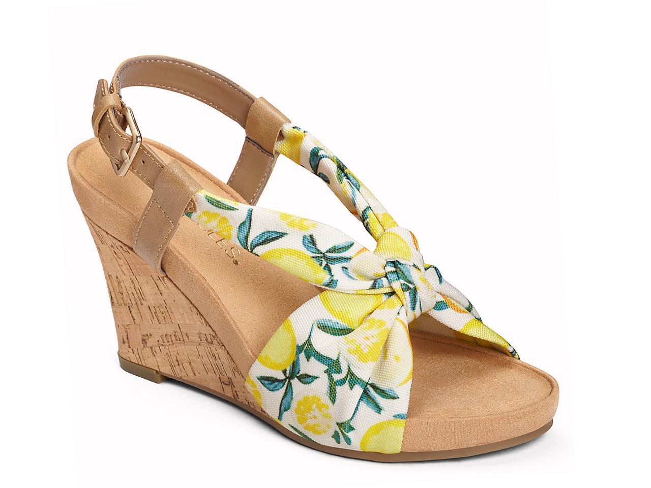 ca72e1da05f4 Aerosoles Plush Pillow Printed Wedge Sandal Women s Shoes